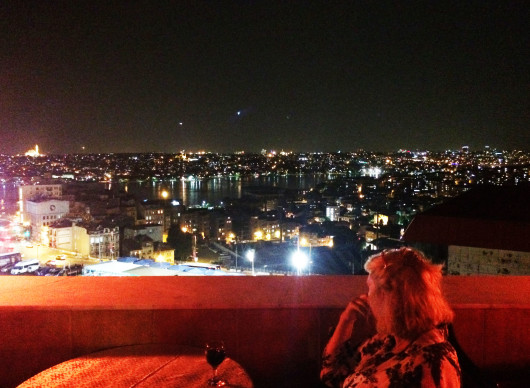 Istanbul rooftop at night
